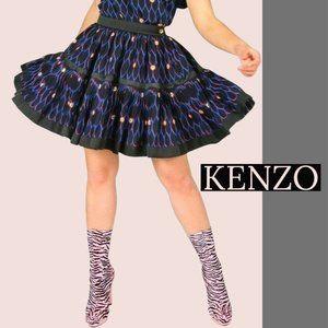 KENZO SILK Pleated Circle Skirt SZ 6